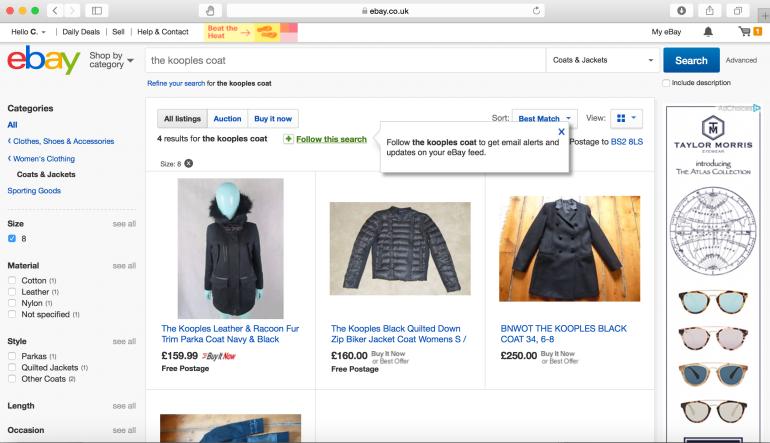 ebay follow search function