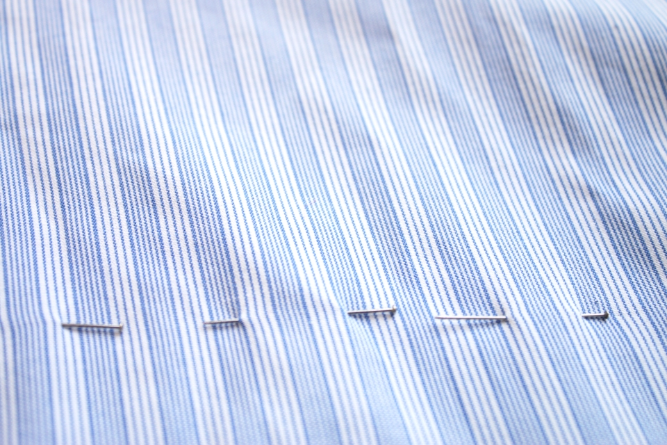 DIY blue and white shirt pins