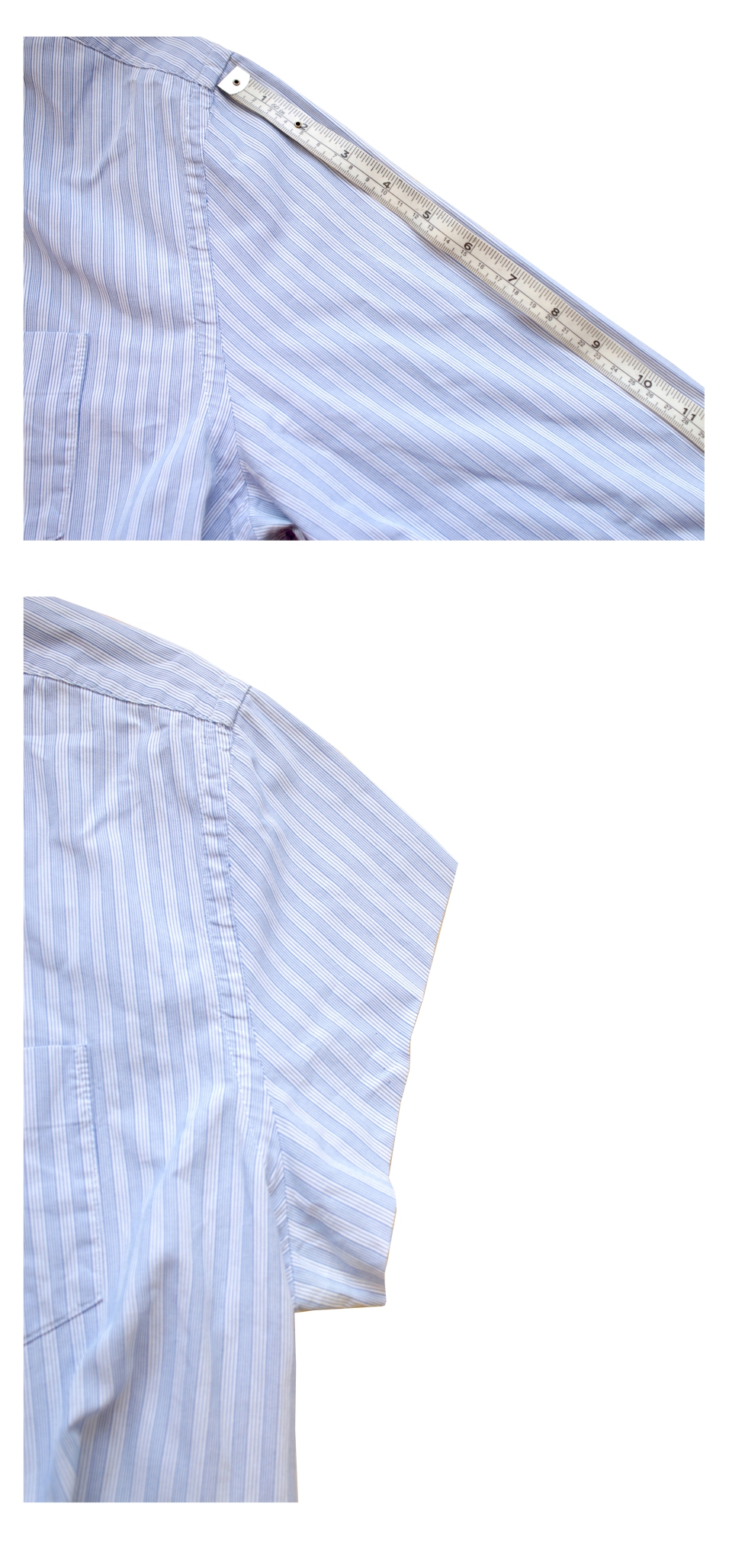 Up-cycling shirt measure and cut sleeve